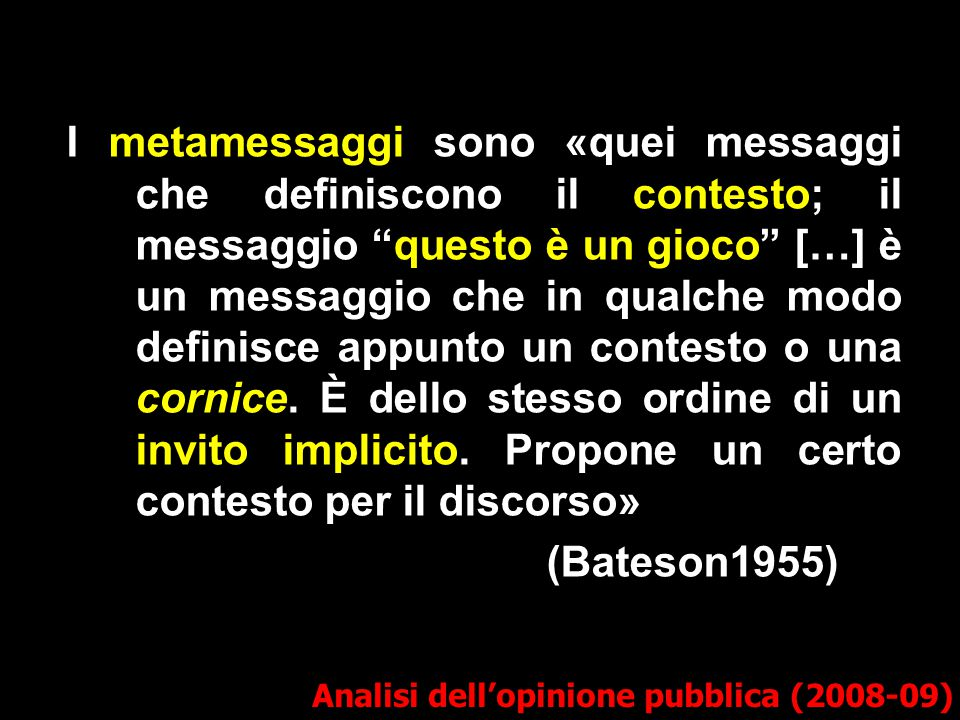 I metamessaggi sono «quei messaggi che definiscono il contesto; il messaggio questo è un gioco […] è un messaggio che in qualche modo definisce appunto un contesto o una cornice. È dello stesso ordine di un invito implicito. Propone un certo contesto per il discorso»